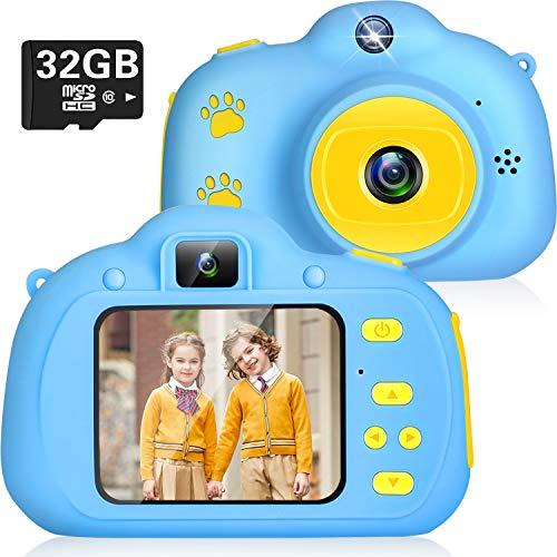Cámara Digital para Niños Juguetes 1080P Selfie Camara Infantil Cumpleaños Regalos para Niños Cámara Fotos Niños 2.0 IPS Tarjeta de 32GB SD 3 a 12 años Niños y Niñas (Azul)
