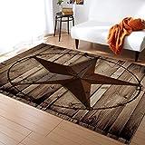 Advancey Area Rug Non-Skid Runner Rug Western Texas Star Rustic Wood Board Rug Floor Mat for Kitchen Porch Doormat Living Room,3'x5'