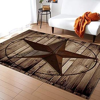 Advancey Area Rug Non-Skid Runner Rug Western Texas Star Rustic Wood Board Rug Floor Mat for Kitchen Porch Doormat Living Room,3 x5