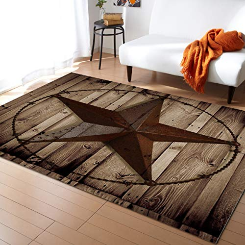 Advancey Area Rug Non-Skid Runner Rug Western Texas Star Rustic Wood Board Rug Floor Mat for Kitchen Porch Doormat Living Room,3'x5'