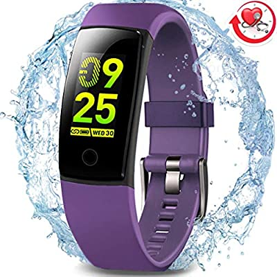 MorePro Waterproof Fitness Tracker, Activity Health Tracker with Heart Rate Blood Pressure Sleep Monitor, Color Screen Smart Wristband Step Calorie Counter Pedometer Watch for Kids Women Men.