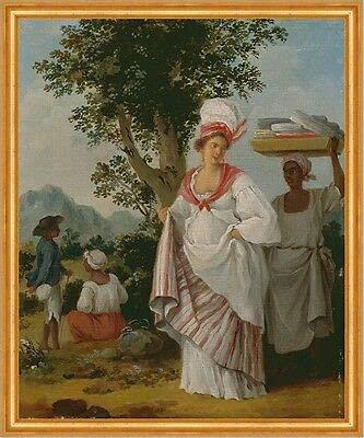 Kunstdruck West Indian Creole Woman A1 00273 - Pendientes de aro para mujer, diseño de Servant Brunias