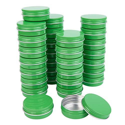 BENECREAT 30 Pack 30ml Contenitore Cosmetico Lattine Rotonde in Alluminio Verde con Tappo a Vite - Ideale per Conservare Monete, Pillole, Candele, Dolci