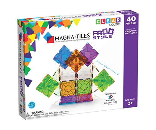 Magna Tiles Freestyle Set, The Original Magnetic Building Tiles for Creative Open-Ended Play, Educational Toys for Children Ages 3 Years + (40 Pieces)