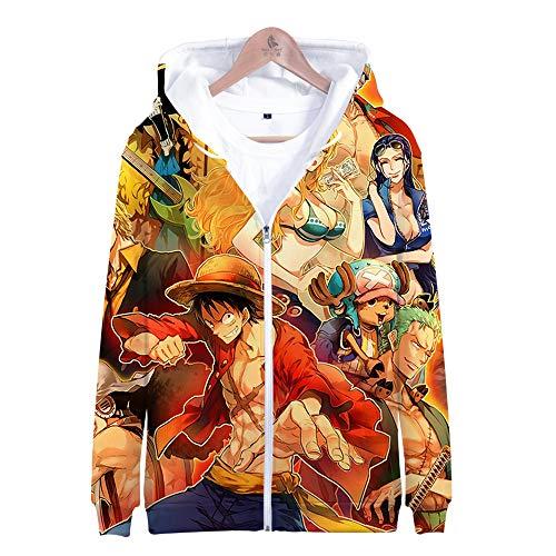 SUNCHTX One Piece Sudadera con Capucha Estampada En 3D Patrón De Dibujos Animados Coloridos con Cremallera Sudadera con Cuello Redondo Hombres Y Mujeres Parejas Jerseys Casuales-C/XXL