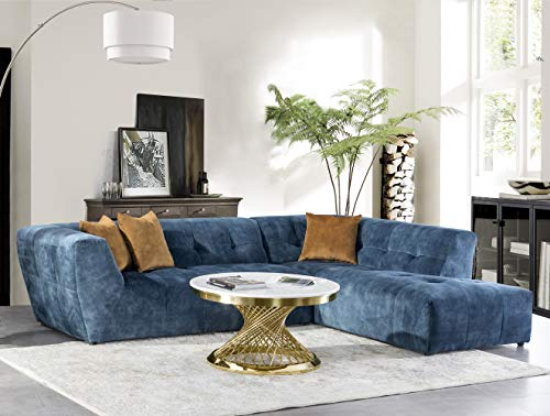 Acanva Luxury Mid-Century Tufted Low Back Right Facing Sectional Sofa L-Shape Couch, Navy blue