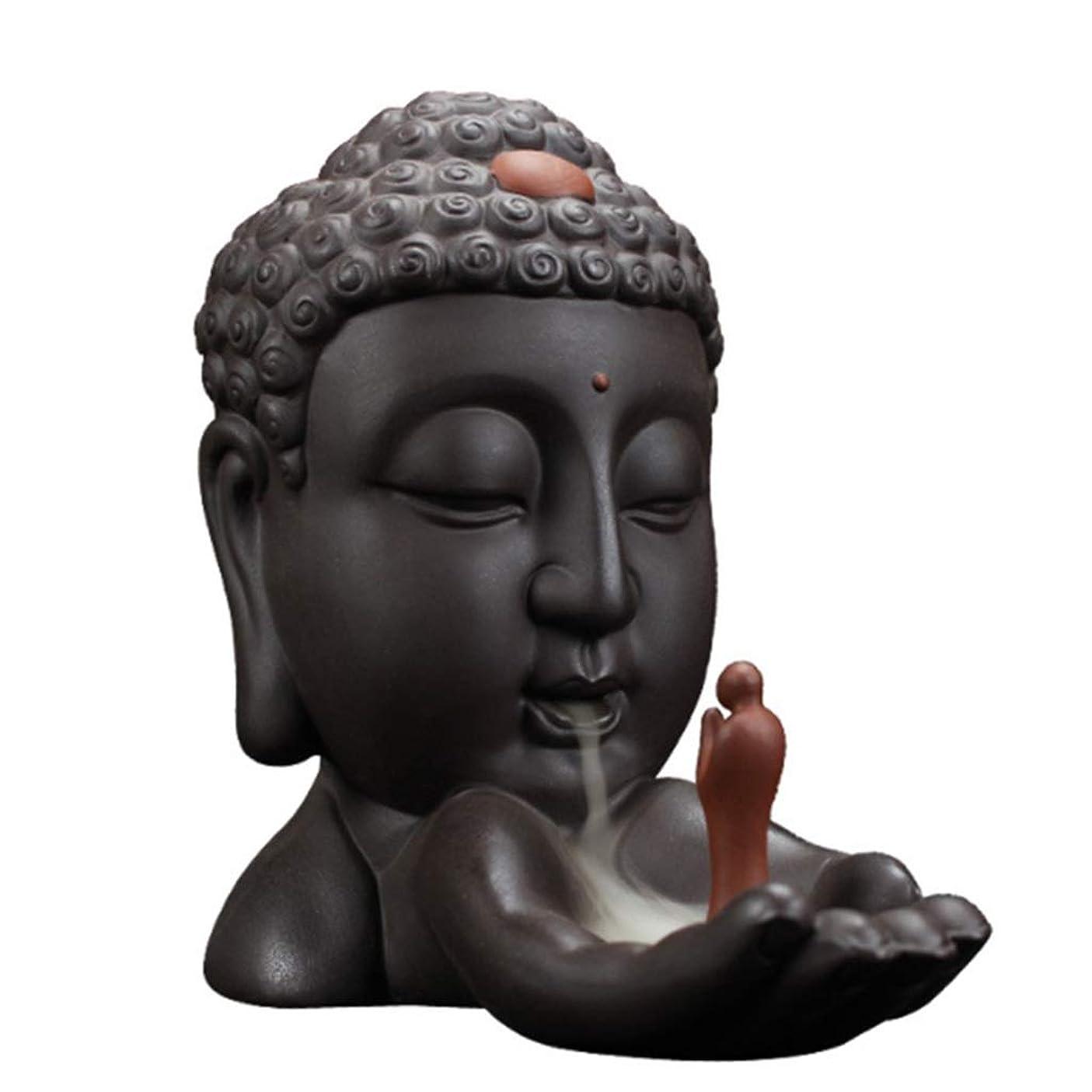 癌腕機関ホームアロマバーナー 逆流香バーナークリエイティブホームデコレーションセラミック仏香ホルダー仏教香炉オフィスでの使用リビングルーム 芳香器アロマバーナー (Color : Brown)