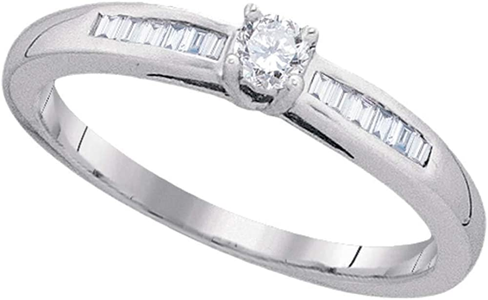 Dazzlingrock Collection 10kt White Gold Womens Round Diamond Solitaire Promise Ring 1/5 Cttw