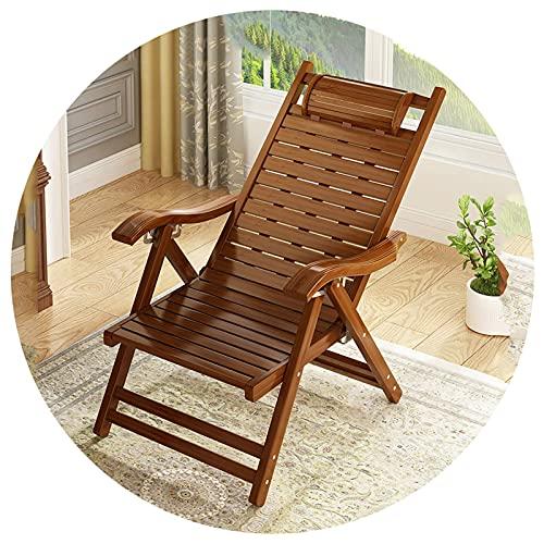 CCLLA Sillón reclinable Plegable para Patio, sillón de Madera Ajustable con césped, sillón de bambú Suave con reposacabezas para Patio Trasero, Junto a la Piscina, Playa, marrón