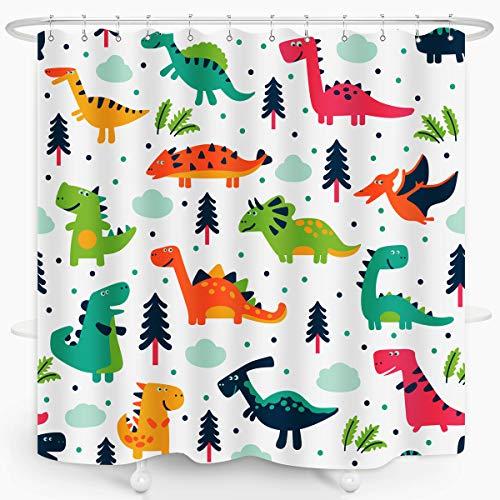 ZXMBF Cartoon Dinosaur Shower Curtain Colorful Kid Original Dino Design Boys Bath Wildlife Style Waterproof Fabric Bathroom Decor 72x72 Inch Plastic Hooks 12PCS