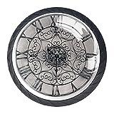 Reloj con números romanos de pared, 4 unidades, perillas de ABS para armario de cocina, cajón, manijas de gabinete con tornillos