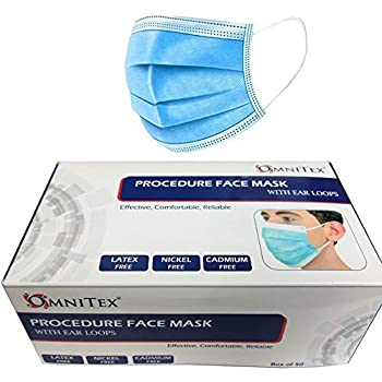 British Brand | Omnitex 3ply Premium Type IIR Disposable Surgical Face Mask | EN14683:2019 | 98% Filtration, Fluid Resistant, Medical 2R with Ear Loops - Pack of 50