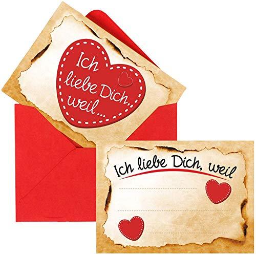 Adventskalender Füllung Set mit 24 romantischen Karten ICH Liebe Dich, Weil (wahlweise mit 3, 6, 12 oder 24 Karten) zum selber ausfüllen