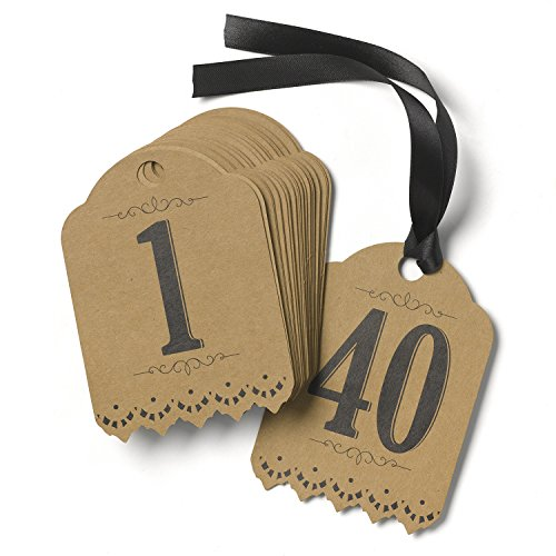 Hortense B. Hewitt Wedding Accessories Vintage Kraft Table Tags, Numbers 1 to 40