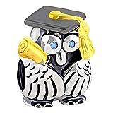 Abalorio de búho de graduación, ojos de cristal azules, plata de ley 925