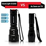 Gearlight high-powered led flashlight s1200 - mid size, zoomable, water resistant, handheld light - high lumen camping… 13 bigger, brighter, better - hold the gearlight in your hand and know you're holding something substantial. With a solid build and blinding brightness, the s1200 outshines the competitions. This mid-size flashlight is big on power but compact enough to fit in your backpack, survival bag, or car glove compartment. Super bright wide beam & long battery life - ultra wide beam effortlessly illuminates a whole room or backyard. It is 12 times brighter than old incandescent lights. Easily lasts for an entire camping trip using 3 standard aa's. Compatible with 18650 or 26650 rechargeable batteries. (batteries are not included) zoomable & multiple lighting modes - adjustable zoom feature allows you to focus in on objects hundreds of feet away or zoom out to sweep a large area. Multiple settings replace the need for different flashlights. Makes for a practical addition to any household or emergency kit.