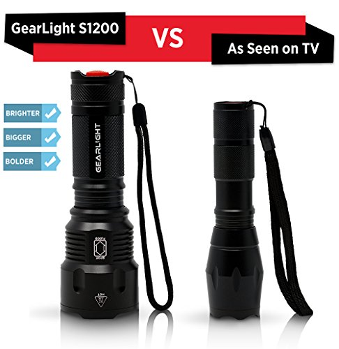 Gearlight high-powered led flashlight s1200 - mid size, zoomable, water resistant, handheld light - high lumen camping… 6 bigger, brighter, better - hold the gearlight in your hand and know you're holding something substantial. With a solid build and blinding brightness, the s1200 outshines the competitions. This mid-size flashlight is big on power but compact enough to fit in your backpack, survival bag, or car glove compartment. Super bright wide beam & long battery life - ultra wide beam effortlessly illuminates a whole room or backyard. It is 12 times brighter than old incandescent lights. Easily lasts for an entire camping trip using 3 standard aa's. Compatible with 18650 or 26650 rechargeable batteries. (batteries are not included) zoomable & multiple lighting modes - adjustable zoom feature allows you to focus in on objects hundreds of feet away or zoom out to sweep a large area. Multiple settings replace the need for different flashlights. Makes for a practical addition to any household or emergency kit.