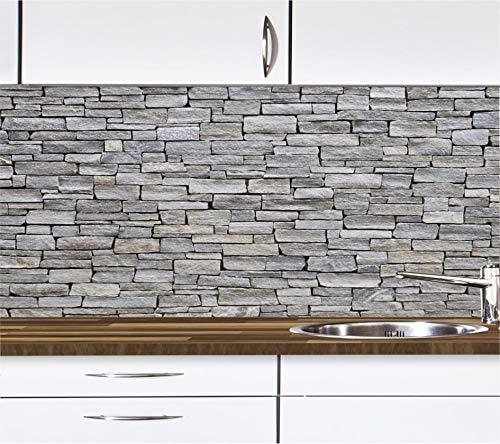 KLINOO Küchenrückwand in Steinoptik als Spritzschutz - Wandschutz - alle Untergründe (verdeckt Fugen) - zuschneidbar/erweiterbar - geruchsneutral - wiederablösbar - 97cm x 68cm (Naturstein grau)