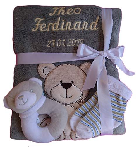 *Babydecke mit Namen bestickt + Zugabe Babysocken Babyrassel Greifling Baby Taufe (grau Bär)*