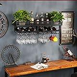 FDR L20.01.31 Likör-Flaschenregal, Wandmontage, Weinglas-Ablage, für Spirituosen, Kreative Wand, Schwarz, 150 * 35cm