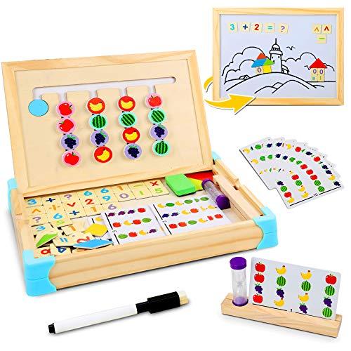 Jojoin Jouets en Bois Puzzle de Montessori, Jeux Educatif avec Jeu de Tri de Fruits, Puzzles en Bois Magnétiqu,...
