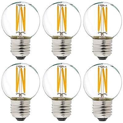 LiteHistory Dimmable g16.5 led Bulb Candelabra g16 1/2 Bulbs 40w 2700K 400lm e12 g50 Bulb 6Pack