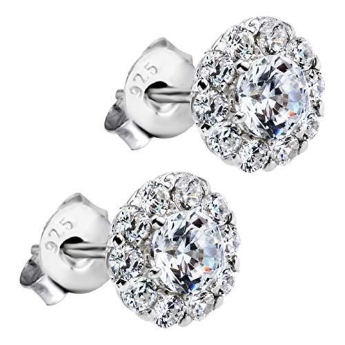 LOTUS Pendientes de plata de ley 925 para mujer, diseño de flor, circonitas, JLP1290-4-1