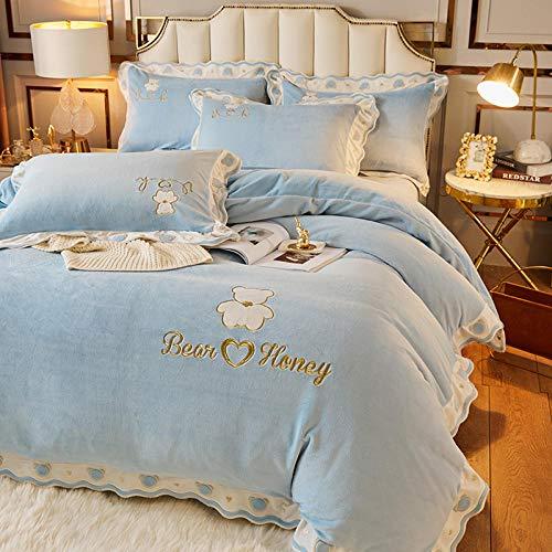 parure copripiumino letto matrimoniale verde,Alloggio per studenti invernale colore letto singolo matrimoniale copripiumino singolo biancheria da letto in flanella a quattro pezzi in pile bifacciale-