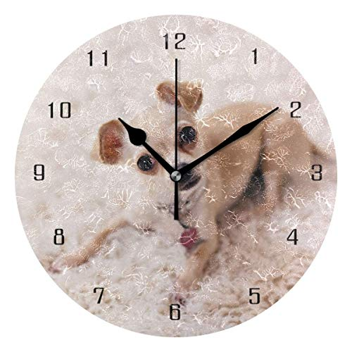 gshihuainingxianshekush Wohnkultur Hund süßes Tier Baby Runde Stil M Wanduhr, leise Nicht tickt Wanduhr, batteriebetriebene Kunst dekorativ
