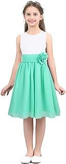 IEFIEL Vestido Elegante Boda Fiesta Dama de Honor Vestido Blanco de Flores Gasa Princesa para Niña Chica 4-14 Años