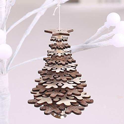 1pc New Christmas Decoration Wooden Star Snowflake with Bell Christmas Pendants Xmas Tree Ornament Wooden Hanging Pendants Gifts
