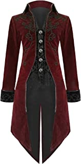 XINHEO Men Gothic Punk Swallowtail Slim Casual Medieval Coat Jacket