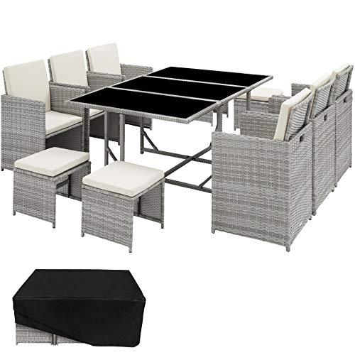 TecTake 800821 Set di Mobili Poli Rattan, Arredamento da Giardino, 6X Sedie 1x Tavolo con 3 Lastre di Vetro 4X Sgabelli, Involucro Protettivo, Nuovo (Grigio Chiaro)