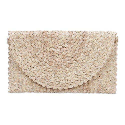 NOVICA Off White Ivory Hand Woven Palm Leaf Clutch Handbag, Trance In Ivory'