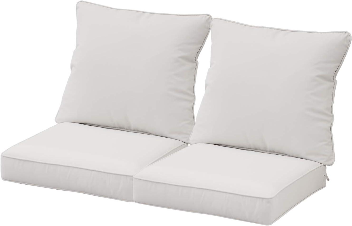 "Aoodor 24"" x 24"" Patio Furniture Outdoor Deep Seat Single Chair Sofa Cushion Back Olefin Fabric Slipcover Sponge Foam - Beige Color Set of 2 ( 2 Back and 2 Seater)"