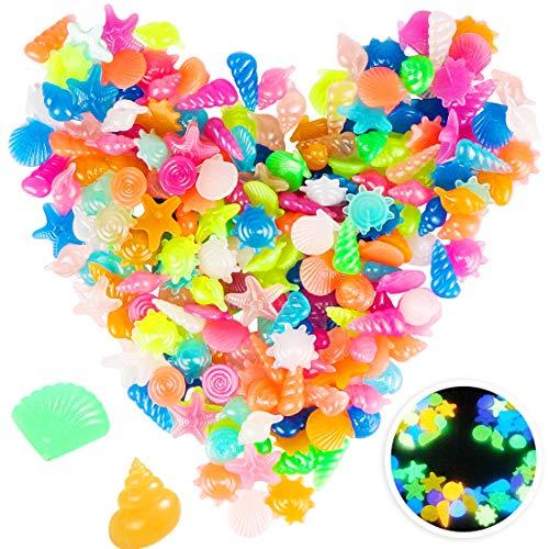 Bluelves 220 Piezas Piedras Luminosas Jardin, Artificiales Piedras Fluorescentes Decorativas, para Las Calzadas Decoración al Aire Libre Tanque de Peces de Acuario Camino Lawn Yard(Oceano)
