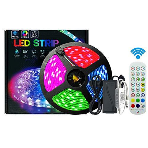 Tiras LED WiFi 5M,Tira Luces LED RGB Inteligente con Control App, Funciona con Alexa y Google Asistente, Control por Voz/Remoto para Ajustar Múlticolores y Brillo,Luces LED para Hogar, Bar, Fiesta