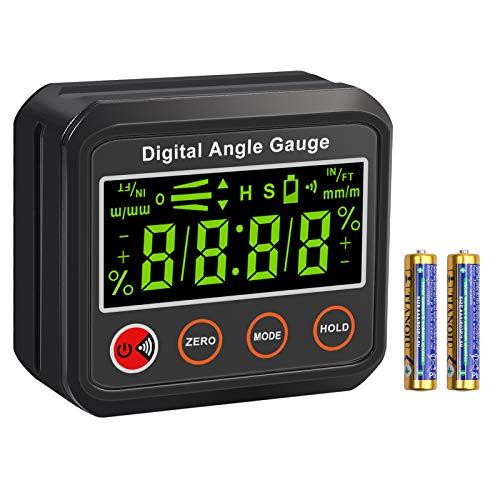 Inclinómetro Digital Buscador de Ángulo Eletronico Nivel de Ángulo Digital con Base Magnética Pantalla con Luz de Fondo Alarma Audible para Medir Inclinación