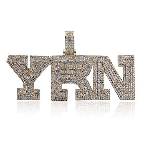 GUCY Hip Hop Jewelry 18k Gold Plated Brass Micro Pave Simulated Diamond YRN Pendant with Rope Chain (Gold)