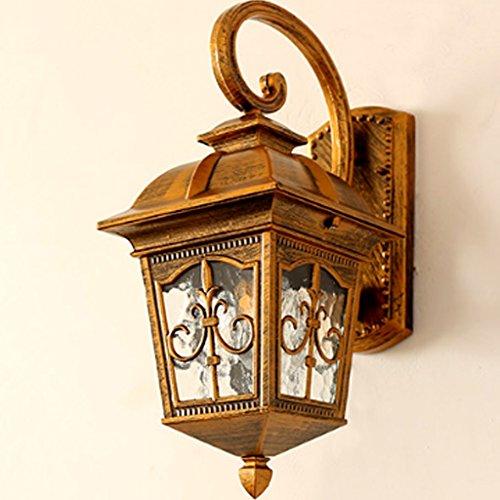 Muurlamp AMINSHAP Retro eenvoudig en modern waterdicht voor buiten woonkamer balkon hal wandlampen tuin (grootte: goud (Small))