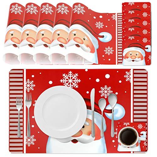 Joyibay 6PCS Platzset Weihnachten Tischset, Abwischbar PVC Tischset mit 6 Tassenmatten Wiederverwendbar Weihnachts-Platzdeckchen Wasserdicht Rechteckig Tischset für Esstisch-Dekoration