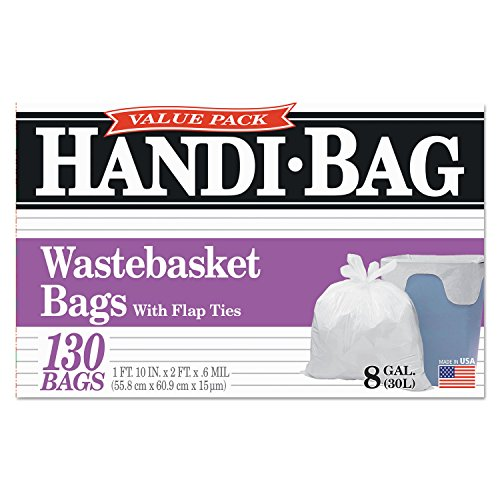Webster HAB6FW130 Handi Bag 8 Gallon Super Value Pack Waste Basket Bag, 0.6 Mil, 24