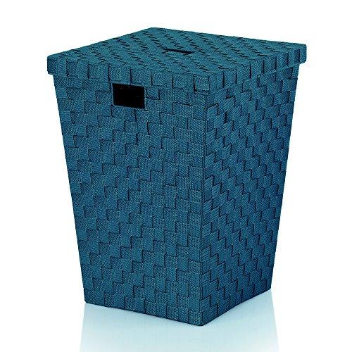 Kela 23088 Panier à Linge Tressé, 40x40x52 cm, Bleu Pétrole, 'Alvaro'