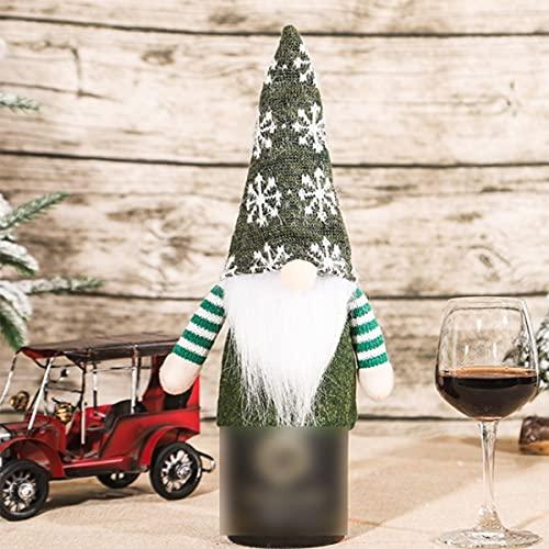 VDSOIUTYHFV 2 uds, Cubierta de Botella de Vino de Navidad, Juegos de Adornos de Tapa de Botella de Vino Hechos a Mano para el hogar, Fiesta de Navidad