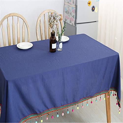 TENGDLOEA Mantel de tela arte algodón, lino, azul marino, azul marino, retro color sólido, un bonito diseño de la borla, lavable, conveniente for los hoteles de interior y exterior Familia Reuniones y
