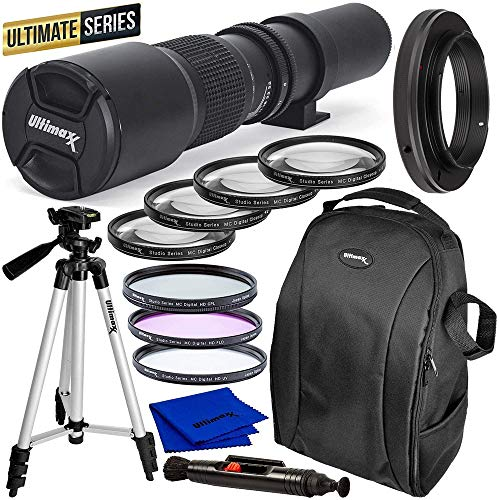 Ultimaxx Pro 500mm f/8 Manual Multi-Coated Preset Telephoto Lens Kit for Canon EOS Rebel T3, T3i, T4i, T5, T5i, T6, T7 T6i, T6s, T7i, SL1, SL2, 60D, 70D, 77D, 80D, 5D III, 5D IV, 6D, 7D, 7D II & More
