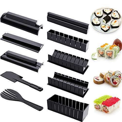 Sushi Herstellung Kit für Anfänger 10 Stück Kunststoff Sushi Maker Werkzeug Komplett mit 8 Sushi Reis Rolle Schimmel Formen Gabel Spatel DIY Haus Sushi Werkzeug