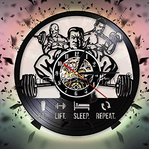 JXCDNB - Reloj de pared para hombre, fitness, gimnasio, disco de vinilo,...