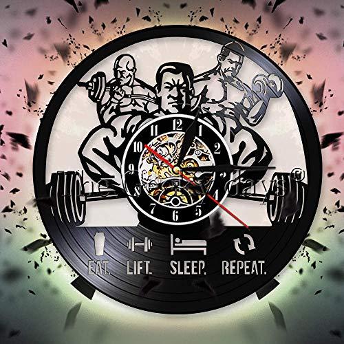 Rgzqrq Eat Lift Sleep Repetition Man Fitness Gym Disco de Vinilo Reloj de Pared Ejercicio Muscle Man Levantamiento de Pesas Reloj de Pared Bodybuilder Gift (30x30cm)