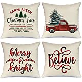 AENEY Buffalo Plaid Christmas Pillow Covers 18x18 Set of 4 Marry Bright Christmas Pillows Winter Holiday Throw Pillows Farmhouse Christmas Decor Red Truck Xmas Decorations for Couch A277
